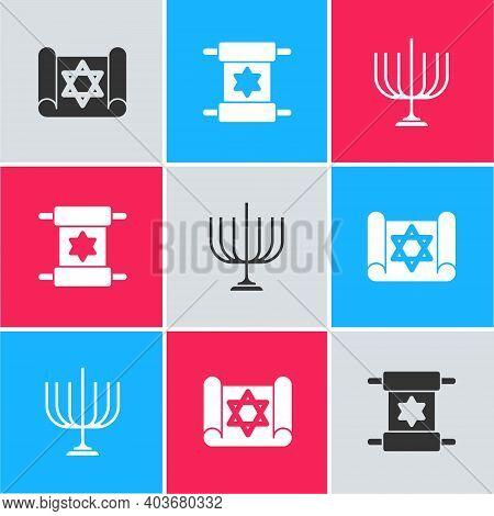Set Torah Scroll, And Hanukkah Menorah Icon. Vector