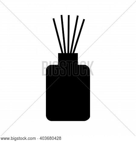 Aroma Diffuser Silhouette. Vector Illustration White Background Isolated. Black And White. Sticks In