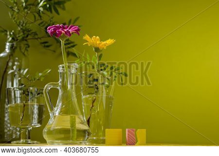 Beautiful Shadows From Glass Vases In Sunlight. Gerberas In Glass Bottles On A Green Background. A F