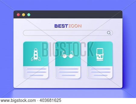 Set Eyeglasses, Rocket Ship And Tetris Icon. Vector