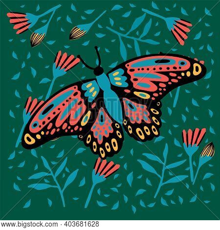 Poster With A Butterfly In Flowers. In A Green Rainforest. The Doodle Depicted A Soaring, Colorful,