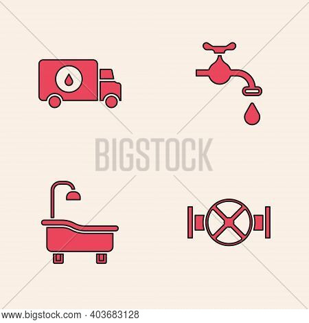 Set Industry Pipe And Valve, Plumber Service Car, Water Tap And Bathtub Icon. Vector