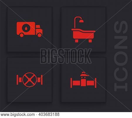 Set Industry Pipe And Valve, Plumber Service Car, Bathtub And Icon. Vector