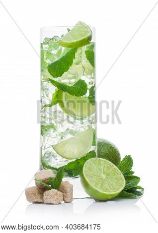 Highball Glass Of Mojito Summer Alcoholic Cocktail With Ice Cubes Mint And Lime On White Background