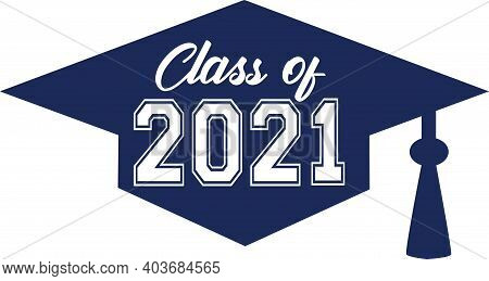 Blue Class Of 2021 Inside Of Graduation Cap Graphic Design Banner