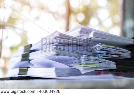 Stack Unfinished Documents Reports Files, Pile Business Paper With Overwork Paperwork On Teacher Des