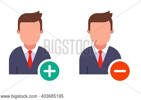 Person Icon With Round Minus And Plus Buttons. Flat Vector Illustration Isolated On White Background