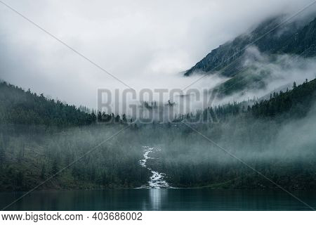 Highland Creek Flows Through Forest And Flows Into Mountain Lake. Ghostly Foggy Landscape With Alpin