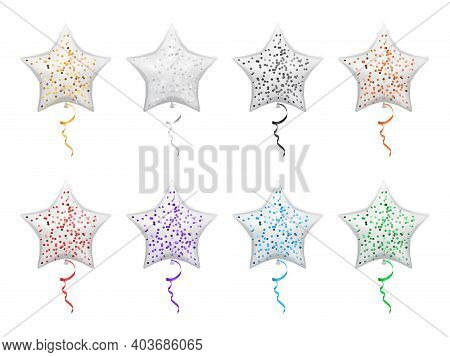 Star Shape Balloons With Sparkles Isolated Party Decor. Helium Balloons With Confetti, Decorative Fl