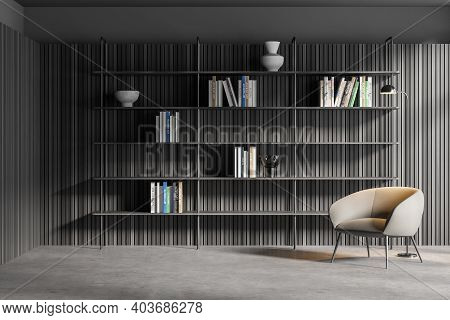 Interior Of Stylish Living Room Or Home Library With Gray And Wooden Walls, Concrete Floor, Comforta