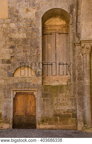 Chiusdino, Italy - 7th September 2020. Doors In A Wall In The Remains Of The Roofless San Galgano Ab