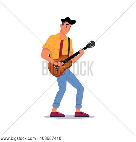 Guitarist Playing Guitar Isolated Man With Stringed Musical Instrument. Male Musician Gives Performa