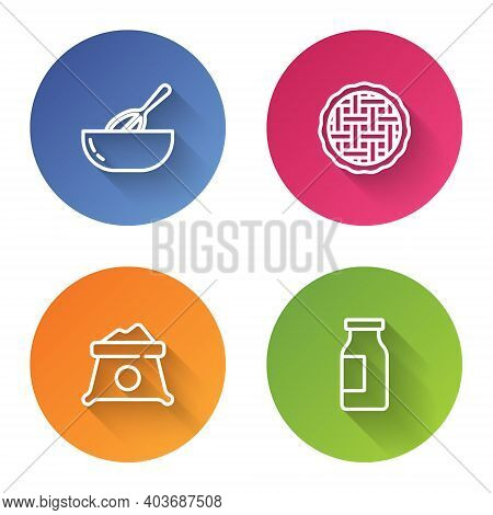 Set Line Kitchen Whisk And Bowl, Homemade Pie, Bag Of Flour And Bottle With Milk. Color Circle Butto