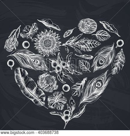 Heart Floral Design With Chalk Banana Palm Leaves, Hibiscus, Solanum, Bromeliad, Peacock Feathers, P