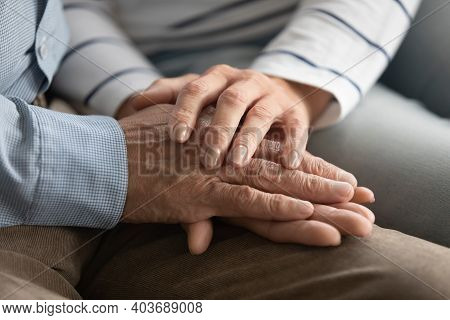 Elderly Affectionate Woman Showing Love To Mature Husband.