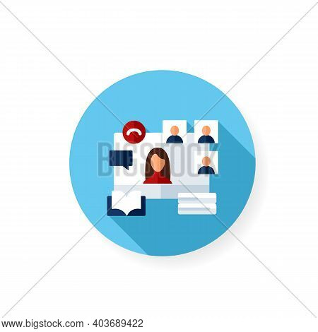 Online Book Club Flat Icon. Meeting Together Concept. Internet Streaming Website. Social Distanced B