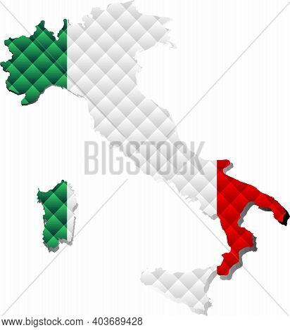 Mosaic Map Of The Italy - Illustration,  Three Dimensional Map Of Italy