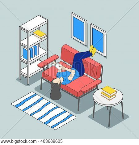 Reading People Isometric Background Composition With Interior Elements And Female Character Laying U