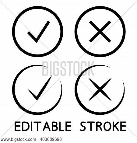Check Mark Icons In Black Color. Thin Line. Symbols Of Approving And Declining. Outline Symbols. Che