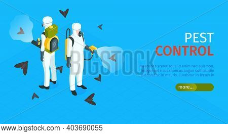 Pest Control Horizontal Banner With Exterminators Of Insects In Chemical Protective Using Repellents