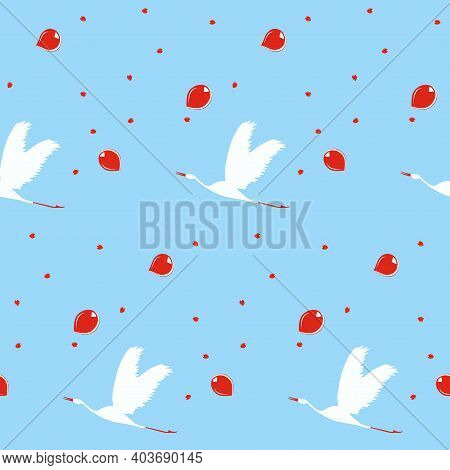 Flying Cranes Pattern, Red Drops - Vector. Spring Mood. Bird Life.