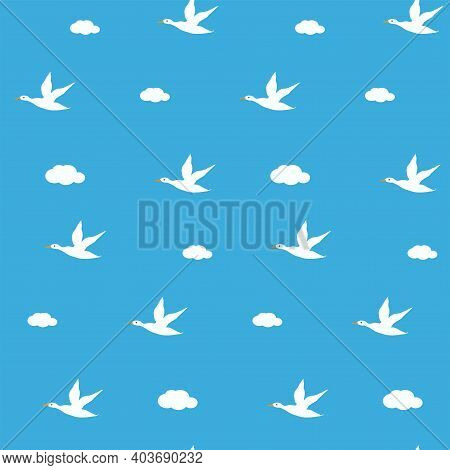 Pattern - Flying Wild Ducks, Clouds - Vector. Spring Mood. Bird Life.