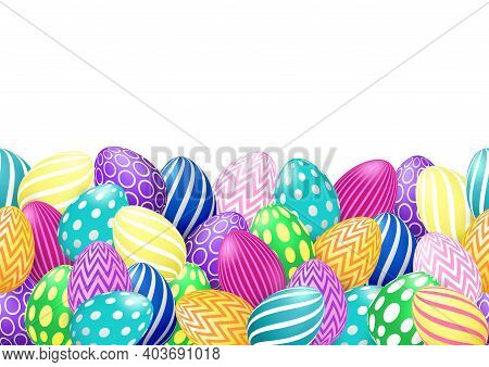 Vector Endless Border With Colorful Easter Eggs On White Background. Horizontal Seamless Pattern Wit