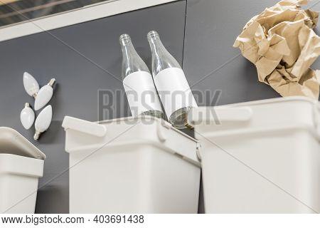 Trash To Separate Garbage To Recycle. Waste Separation Rubbish Before Drop To Garbage Bin To Save Th
