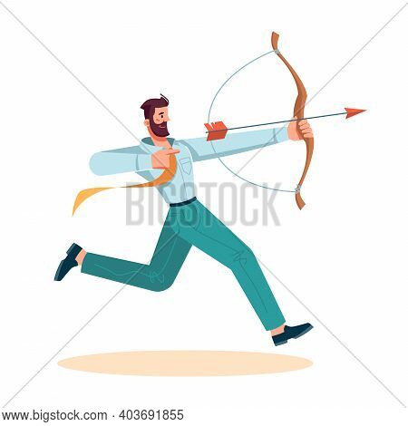 Man Using Bow To Shoot Arrow, Isolated Businessman Tries To Win. Achievement And Successful Completi