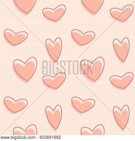 Heart Shaped Valentine S Day Seamless Pattern Background For Textiles, Graphics. Image For A Poster