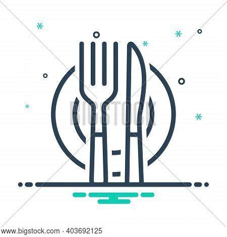 Mix Icon For Cutlery Silverware Dinnerware Restaurant Food