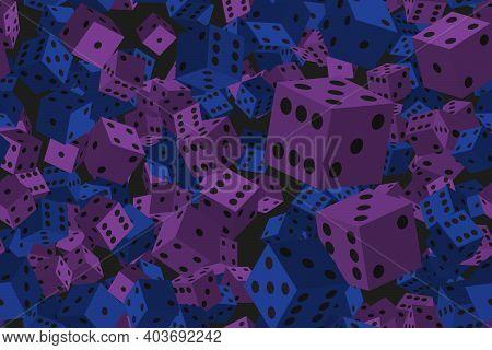 Blue Purple Dice Seamless Pattern, 3d Illustration