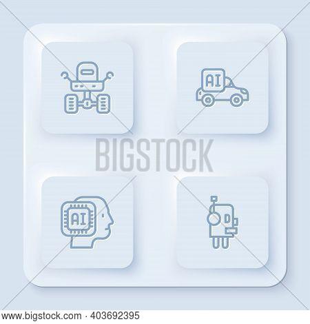 Set Line Mars Rover, Autonomous Smart Car, Humanoid Robot And Robot. White Square Button. Vector