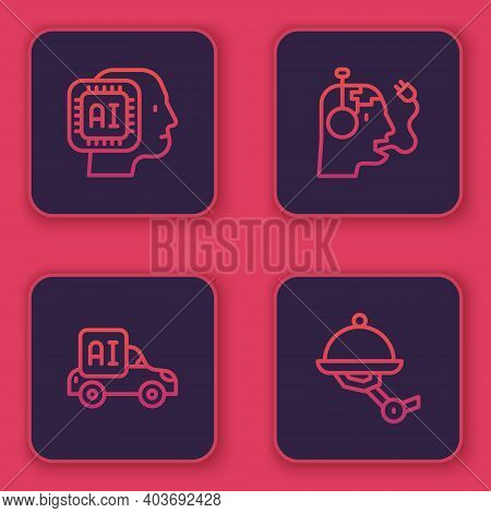 Set Line Humanoid Robot, Autonomous Smart Car, Robot Charging Battery And Waiter. Blue Square Button