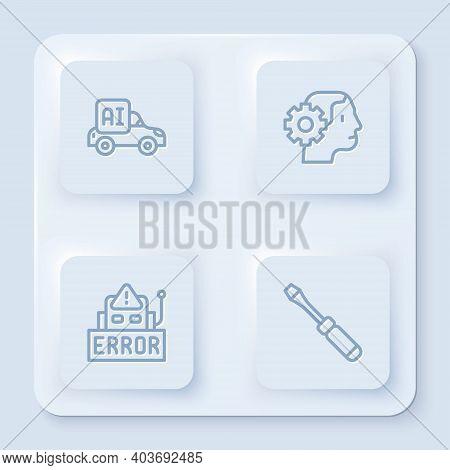 Set Line Autonomous Smart Car, Humanoid Robot, Error In And Screwdriver. White Square Button. Vector