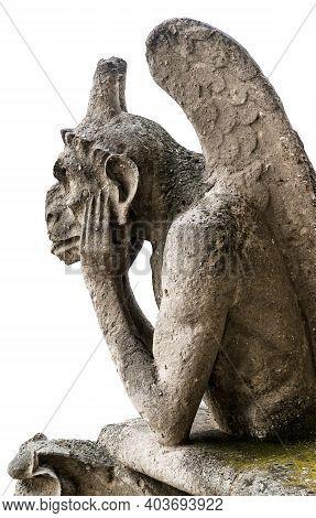 Gargoyle Or Chimera Of Notre Dame De Paris Isolated On White Background, France. Gargoyles Of This C