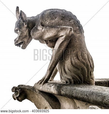 Gargoyle Or Chimera Of Notre Dame De Paris Isolated On White Background, France. Gargoyles Of This C