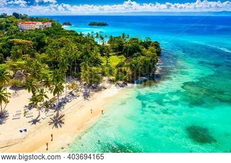 Aerial Drone View Of The Beautiful Small Island And Palm Trees Of Atlantic Ocean. Cayo Levantado Isl