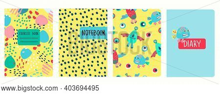 Cover Page Templates Based On Patterns With Funny Monsters, Fantasy Shapes And Cheerful Hey Bro Lett