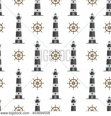 Nautical Seamless Marine Pattern With Lighthouse And Steering Wheel. Searchlight Tower For Maritime