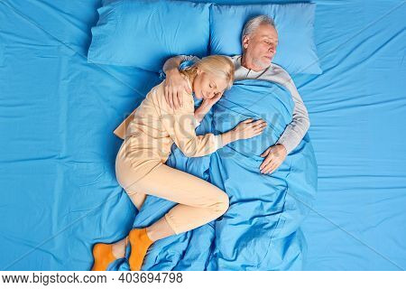 Satisfied Couple Embrace With Love Have Deep Healthy Sleep In Bed See Sweet Dreams Love Each Other A