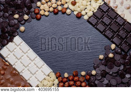 Rustic Banner With Luxury Handmade Chocolates And Three Types Of Chocolate With Vignette And Copy Sp