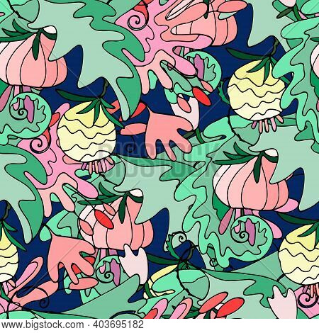 Seamless Pattern With Lush Tropical Vegetation. Repeating Background With Exotic Fantasy Flowers, Le