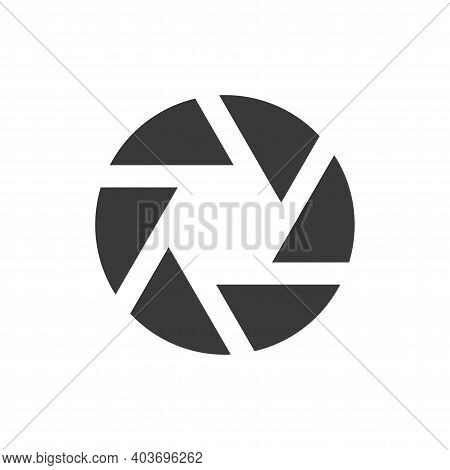 Camera Shutter Or Aperture Black Icon. Simple Glyph Vector Symbol.