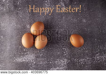 Easter Background With Easter Eggs And Decor On Blue Backdrop. Greetings And Presents For Easter Day