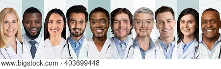 Collage Of Multiethnic Doctors And Medical Workers Portraits On White And Blue Backgrounds, Wearing