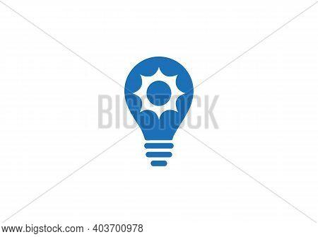 Gear Logo, Gear And Bulb Logo Design Vector Illustration. Bulb Icon, Gear Idea Logo