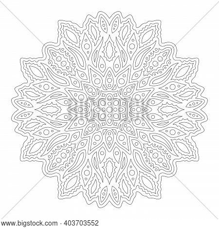 Beautiful Linear Monochrome Illustration For Adult Coloring Book Page With Eastern Abstract Pattern