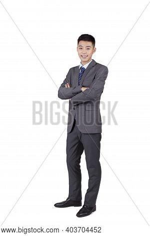Portrait Of Young Self-confident Business Man High Quality Photo