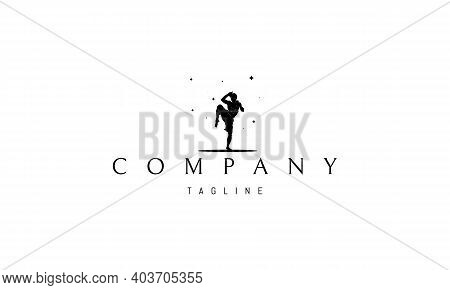 Vector Logo On Which An Abstract Image Of A Fighter Of Martial Arts.